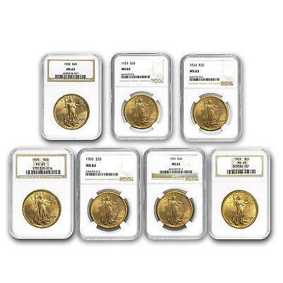 7-Coin $20 Saint-Gaudens Gold Double Eagle Date Set MS-63 NGC - SKU#163239