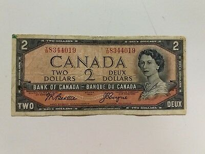 Circulated Series 1954 $2 Two Dollar Bank Of Canada Note