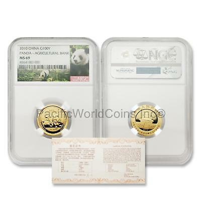 China 2010 Panda Agricultural Bank 100 Yuan 1/4 oz Gold NGC MS69 with COA
