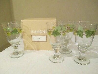"""Franciscan Ivy II Glass Goblet Set of 4, 7"""" & 15 oz. in Box MINT!"""