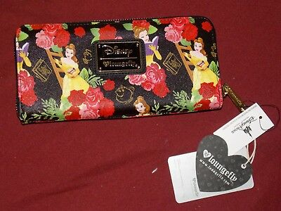 Disney Parks Loungefly Beauty and the Beast Belle Rose Floral Zip Around Wallet
