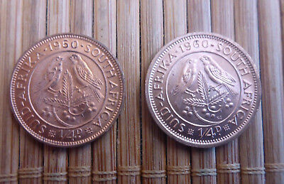 Lot Of 2 - 1960 South Africa - 1/4 Penny (Farthing) Coins - Last Year Ever Made
