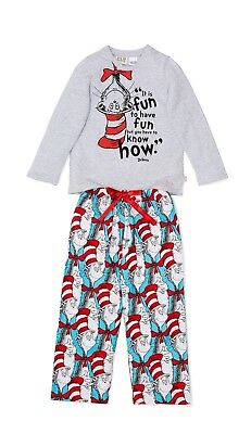 Peter Alexander Dr Seuss Cat In The Hat Size 3 Girls Winter Pyjamas Set New