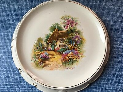 Vintage Homestead Cottage Scene Bread Plate