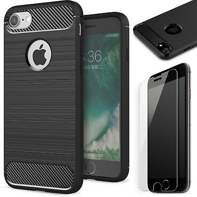 Schutz Glas 9H + Handy Hülle Apple iPhone 6 iPhone 6s TPU Schutz Case Cover