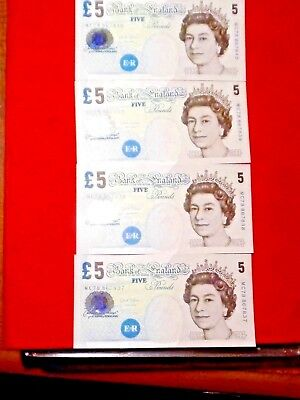 4 UNCIRCULATED 2002 5 POUND BANK of ENGLAND NOTES CONSECUTIVE NUMBERS