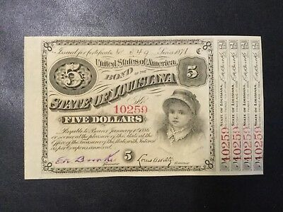 1886 State Of Louisiana 5 Dollars Baby Bond!