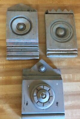 3 Antique Door Window Rosette Plinth Block Wood Bullseye Architectural Salvage