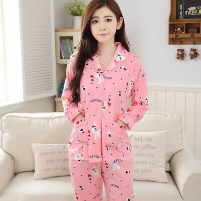 Pregnant Women Sleepwear Long-sleeved Pajamas Cotton Cardigan Home Wear for Lady