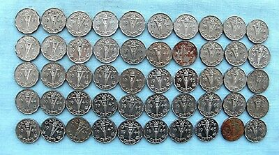 """Lot of 50  Canadian Five cents George VI  """" V """" WWII Victory Nickels"""