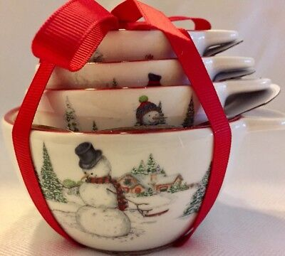 SNOWMAN By WILLIAMS SONOMA Set Of 4 Stoneware MEASURING CUPS NEW STOCK IN BOX
