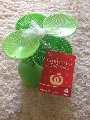 Christmas Collection - Green Plastic Frosted PP Goblet Drink Cup Brand New