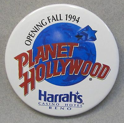 large 1994 pre-opening PLANET HOLLYWOOD HARRAH'S CASINO RENO pinback button