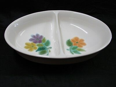 FRANCISCAN OVAL DIVIDED VEGETABLE BOWL with FLORAL PATTERN