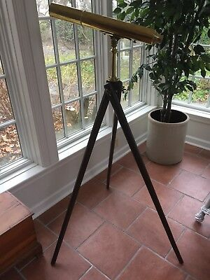 Antique Brass Telescope With Wood Stand