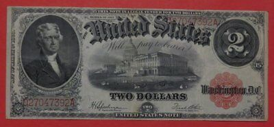 1917 $2.00 U.S. LEGAL TENDER Red Seal Note Very Fine Cond. The Bracelet Note.