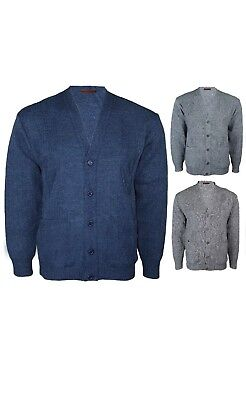 Mens Knitted Cardigan Classic Style Cardigans V Neck Button Jumper Plain Coloure