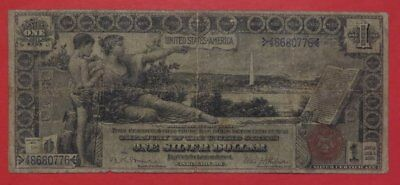 1896 $1.00 EDUCATIONAL Silver Certificate Good+ Cond. History Instructing Youth