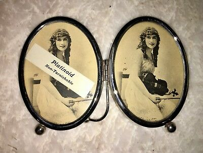 NEW 1920s Antique Double Oval PLATINOID Frame with Stand - EXCELLENT- Rare Find!
