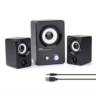 USB Powered Computer Speakers With Subwoofer System PC Laptop Stereo Black 2.1