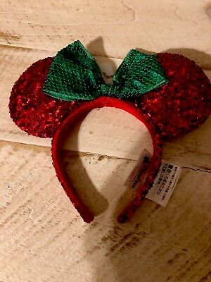 DISNEY MINNIE MOUSE Red Sequin Ears Headband Green Bow Christmas 2017 NEW!