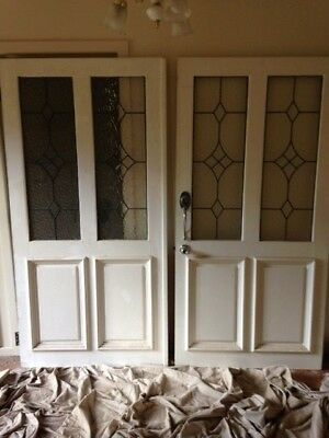 2 X Solid Timber Front Lead Light Doors With Mushroom Stop And Handles.