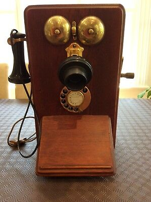 Antique PMG Oak cased wall phone with crank handle