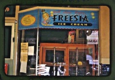1958 35 Mm Colour Slide Cafe Freesia Ice Cream Front Window Display Adelaide B85