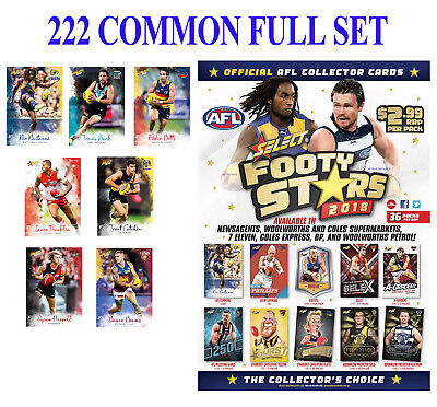 2018 Afl Select Footy Stars 222 Common Card Full Base Set All The Teams