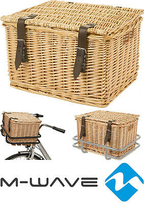 retro fahrradkorb weidenkorb b ckerkorb rattan korb mit deckel braun oder wei eur 32 90. Black Bedroom Furniture Sets. Home Design Ideas