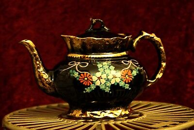 Beautiful Antique Hand Painted Gold Gilded Black Ceramic Teapot Victorian