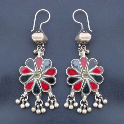 Old Silver Tribal Ethnic Earring Red And Green Glass Beautiful Dangle Earring