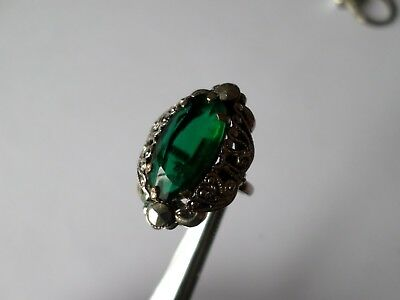 Vintage faux emerald and marcasite ring UK size H 1/2