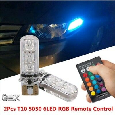 12V Premium Remote T10 Wedge RGB Car LED Light 8 Colour Changing 6SMD 5050