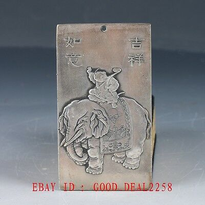Chinese Collection Tibet Silver Hand Carved Elephant & Child & Ruyi Pendant YP05