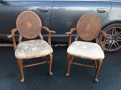 Antique Style Pair Of Bergere Salon Bedroom Hall Chairs Shabby Chic