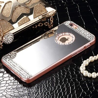 Ultra-thin For iPhone 6s 7 8 Plus Bling Crystal Mirror Hard Back Case Skin Cover