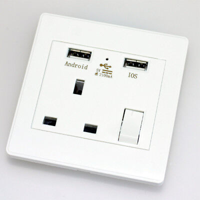 Single Double Wall Socket with USB Charging Port Standard White Socket Built-in