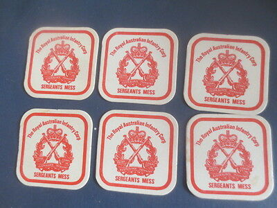 6 x ROYAL AUST. INFANTRY CORP. SERGEANTS MESS 1980,S Issue collectable COASTERS
