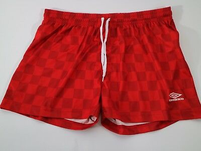 Umbro red football shorts scally large