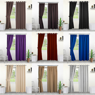 Thermal Blackout Curtains- Choose Ring Top Eyelet or Pencil Pleat. FREE Tiebacks