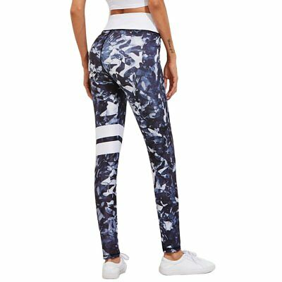 Women Breathable Sport Ruuning Pants Camouflage Printed Quick Drying Trousers EI
