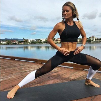 Womens Capri YOGA Workout Running Gym Sport Pants Leggings Fitness Black Mesh EI