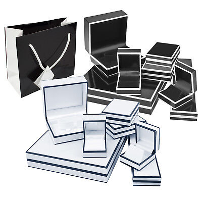 Black and White Shiny Silk Finish Jewellery Gift Boxes and Bags