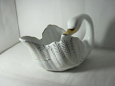 White And Gold Swan Vase Planter Figurine Vintage Collectible