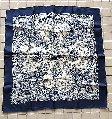 "Vintage LIBERTY OF LONDON Blue+ Ivory Floral Paisley Scarf 23"" Sq"