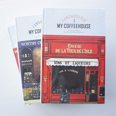 """""""Coffee House"""" 1pc Big Hard Cover Beautiful Notebook Diary Study Planner Journal"""