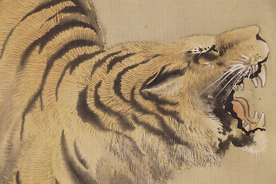 "JAPANESE HANGING SCROLL ART Painting ""Tiger"" Asian antique  #E9796"