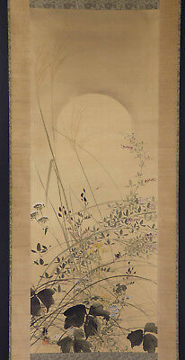 "JAPANESE HANGING SCROLL ART Painting ""Cricket and Flowers"" Asian antique  #E9808"
