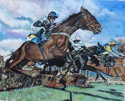 Horse Racing Painting By Bon Of Mikey Hamill on MAQUIRE'S GLEN (IRE)